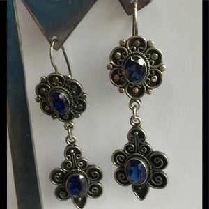 Silver Blue Gemstone Flower Dangle Earrings